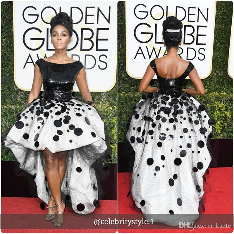 Sexy Janelle Monae Celebrity Party Dresses Black and White Sequins Handmade Flowers 2018 New Golden Globe high low cocktail Evening Gown