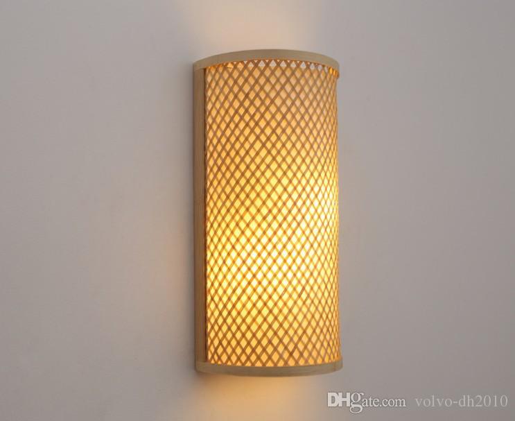 Bamboo Wicker Rattan Shade Tunnel Wall Lamp Fixture Rustic Asian Japanese Korean Sconce Light Luminaria Bedroom Bedside Hallway LLFA