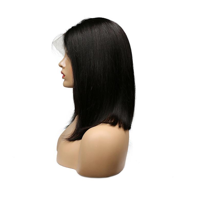 Pre Plucked Hairline Lace Front Bob Human Hair Wigs Brazilian Peruvian Malaysian Indian Straight Virgin Hair Wigs Natural Black For Women