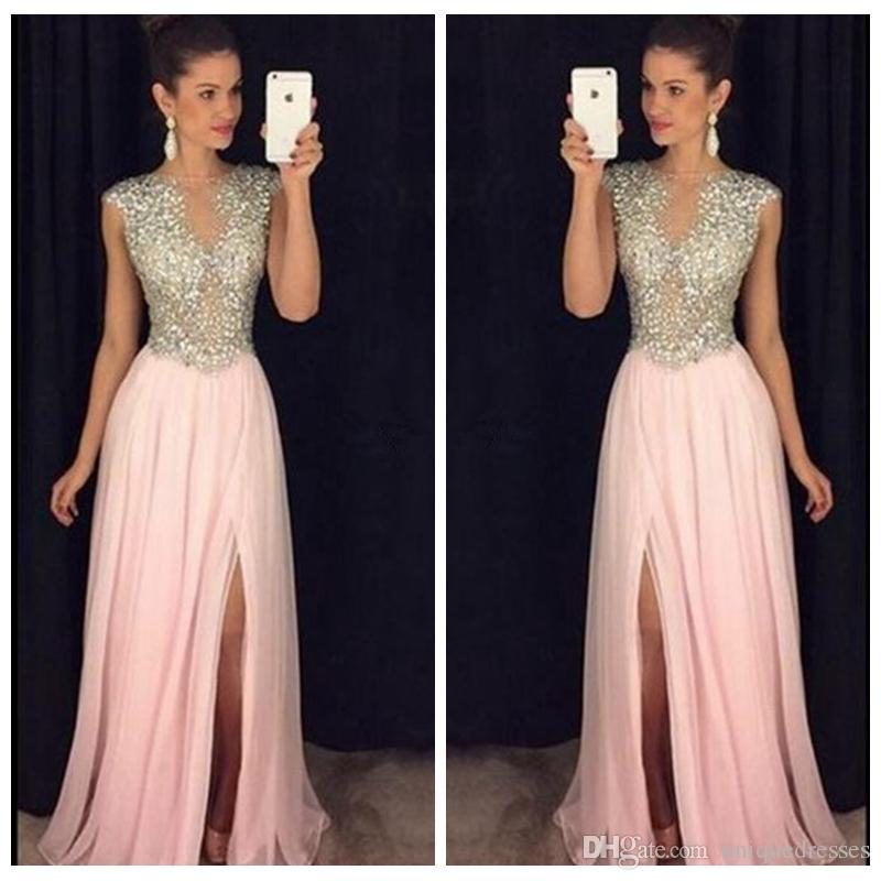2017 Beautiful Pink Prom Dresses Long Crystals Beaded See Through Chiffon Skirt Side Slit A Line Evening Party Gowns