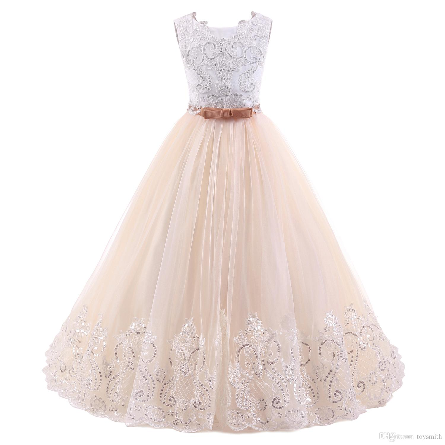 2018 New Fashion Tulle Jewel Applique Sleeveless Sequins Flower Girl Dresses Children's Pageant Dress White Bow Free Shipping