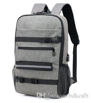 Hot Sale New Fashion Trend Skateboard Bag Password Lock USB Multi-function Backpack Outdoor Leisure Travel Bag Student Bag