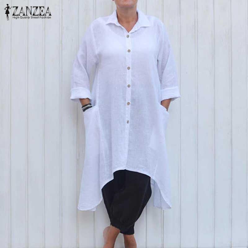 ZANZEA Women 2017 가을 캐주얼 루즈 코튼 드레스 빈티지 옷깃 긴 소매 비대칭 솔리드 셔츠 Vestidos 플러스 사이즈 S-5XL