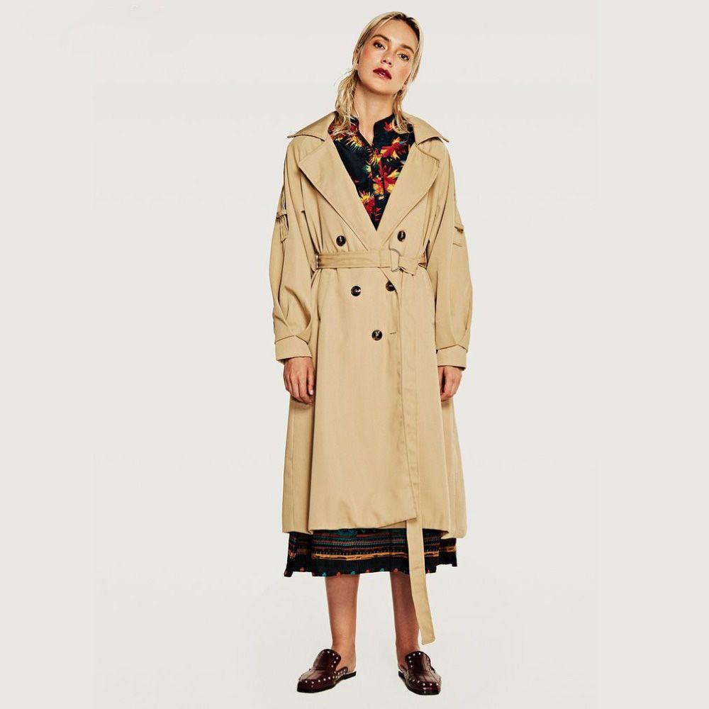 الخريف خندق طويل معطف عالية أزياء ماركة امرأة الكلاسيكية مزدوجة الصدر خندق معطف للماء المعطف الأعمال قميص