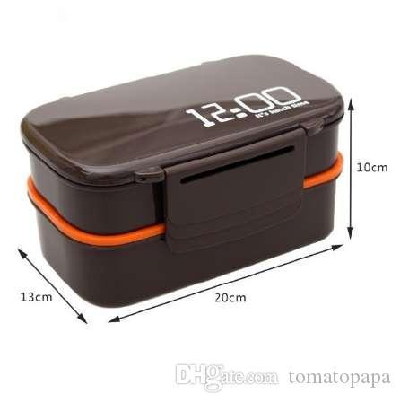 Creativo Es la hora del almuerzo 1410ml Caja de almuerzo de plástico de doble capa horno de microondas Almuerzo de gran capacidad Caja de almuerzo de Bento
