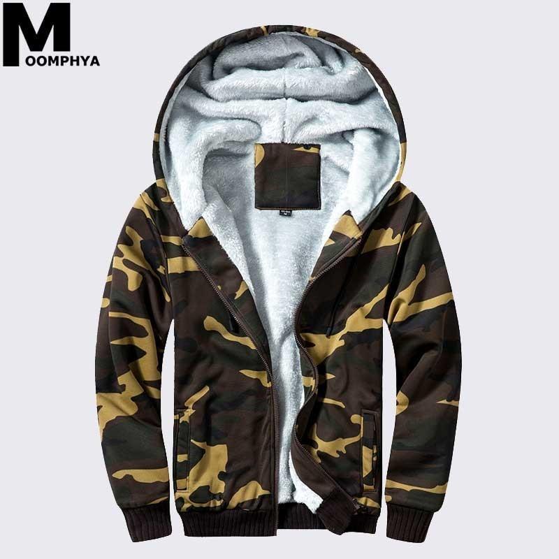 Camouflage fermeture éclair hommes sweat à capuche chaud manteau à capuche pour hommes en laine polaire hiver manches longues ourtwear hommes veste