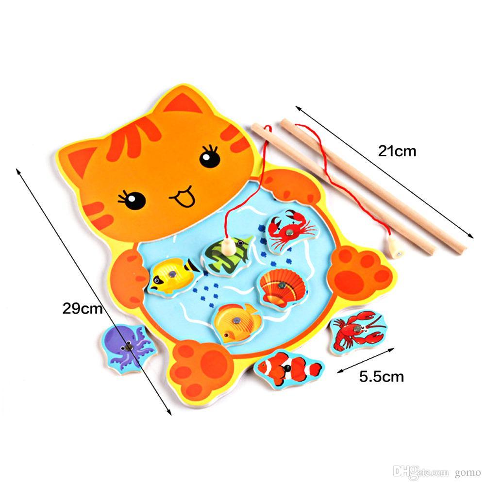 Baby Kinder Magnetic Fishing Game Board mit 2 Angelrute für Kinder Holz Tier Frosch Katze Angeln Spielzeug Pädagogisches Baby Spielzeug