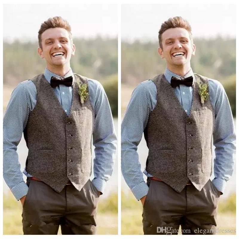 Niestandardowe tanie pana młodego kamizelki farm wełna weselna w stylu Anglii kamizelki Best Slim Fit Mens Kamizelka Kamizelka Prom Ślubna Waistcoat Plus Size