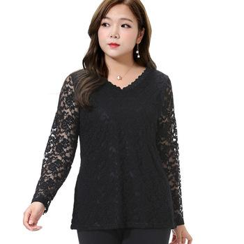 Large Size 5XL 6xl Lace Shirts Women Plus Size Long Sleeve Hollow out Lace Blusas Female Sheer Blouses Blusa Feminina