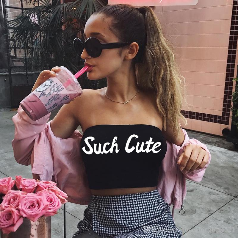 New european design women's strapless tube top sexy bodycon tunic letter print SUCH CUTE short bustier crop top vest camisole