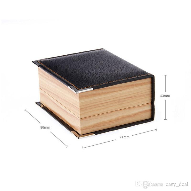 Top Quality Faux Leather Wood Grain Cuff Button Box Cuff Link Packaging Box Gift Box Cufflink Boxes QW7478