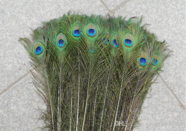 "Nuovo 100pcs Feather Peacock TAILS 10 ""-12"" Tail Feathers Fan per decorazione della festa nuziale Craft Fai da te"