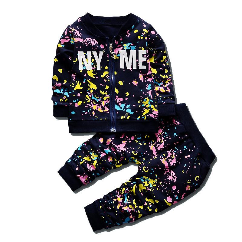 New SpringAutumn Baby Boys Girls Print Ink Clothing Suits Children Jacket Pants 2Pcs Sets Autumn Kids Clothes Toddler Tracksuits Y18102407