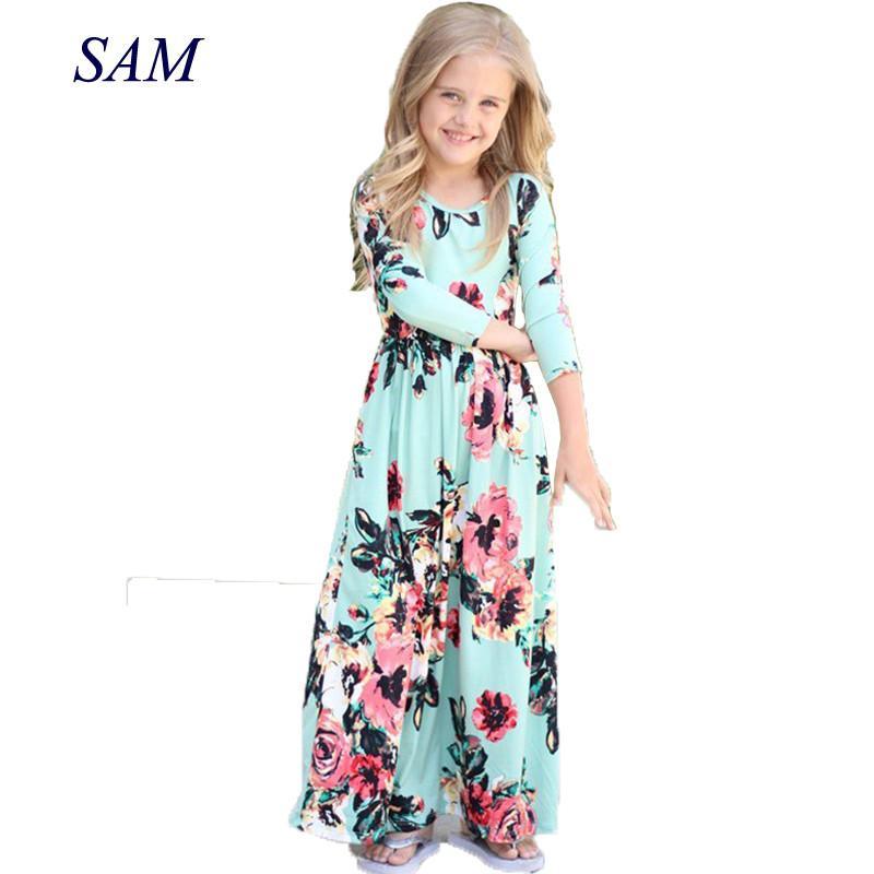 Compre 2018 Vestidos Para Niñas Otoño Bebé Lindo Color De Hit Vestido Largo Ropa De Niños Ropa De Playa De Algodón Casual Vestido Maxi Fit 2 10t A