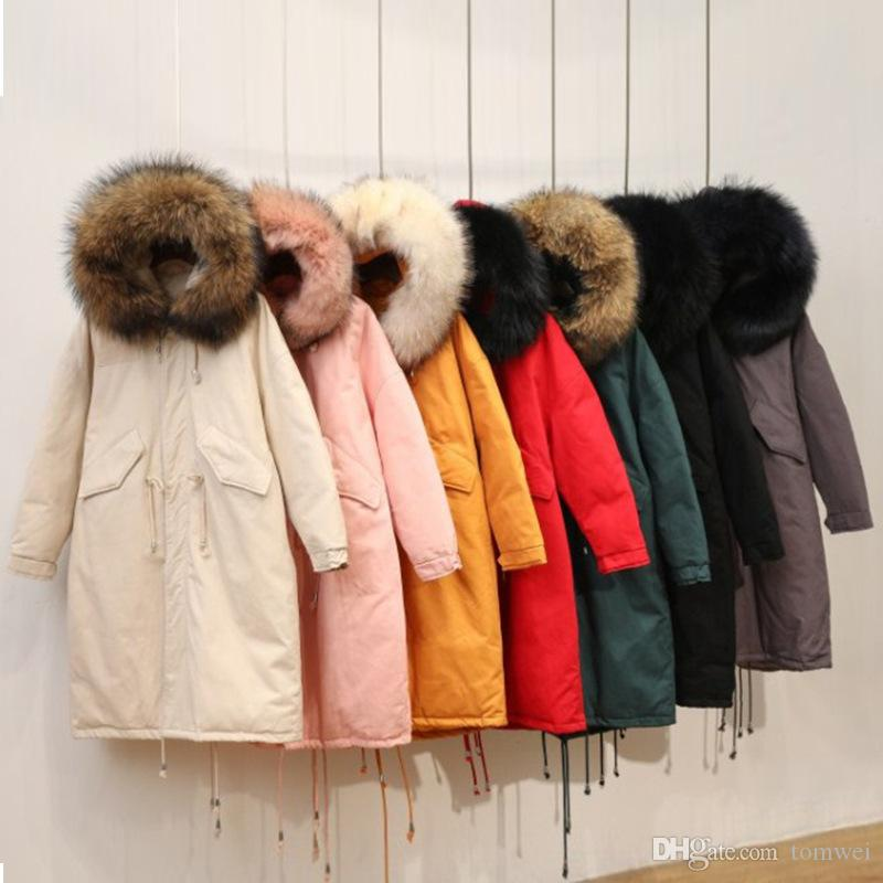 Womens Long Coat Down Jackets Raccoon Fur Collar Loose Style White Duck Down Parka Snow Overcoat Thicken Warm Winter Tops 2018