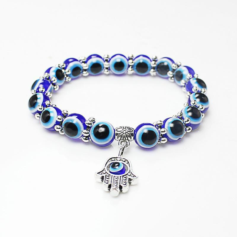 Comercio al por mayor Lucky Fatima Hamsa mano azul del ojo malvado encantos pulseras brazaletes granos turcos pulseras para mujeres 2018 nueva joyería KKA2009