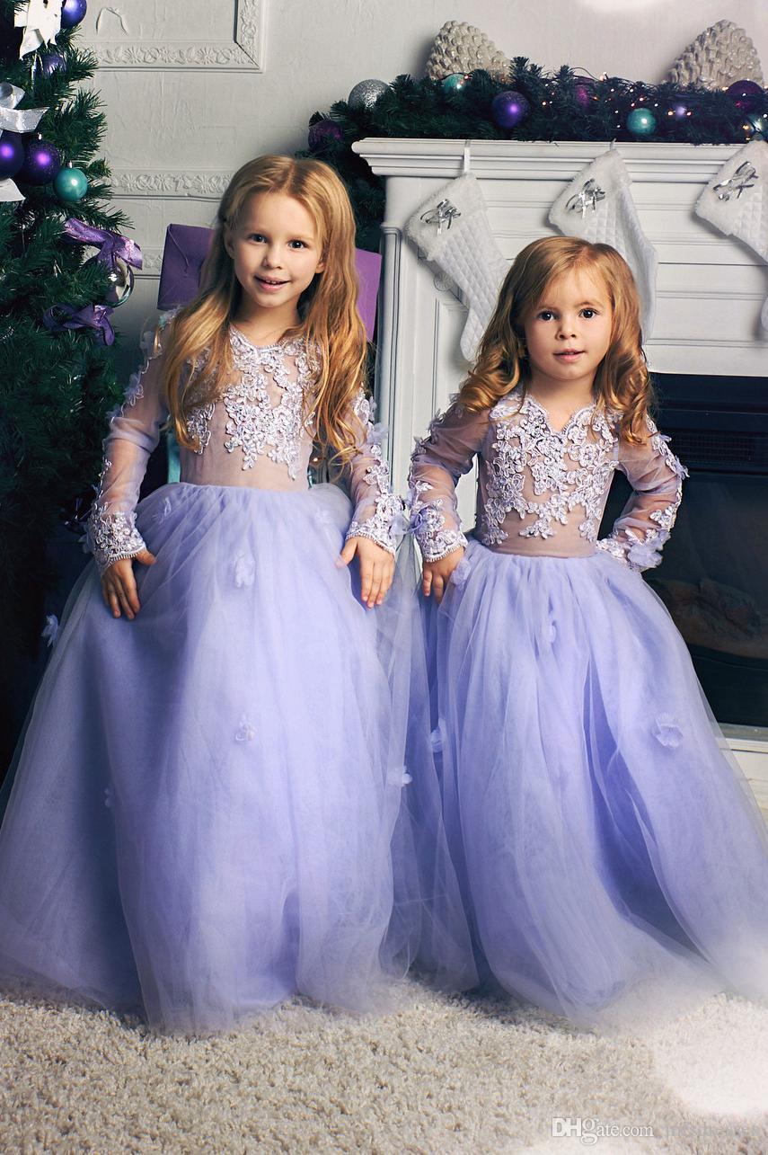 Lavanda Apliques de encaje Vestidos de niña de flores Mangas largas atractivas Hasta el suelo Niñas Concurso Niños Vestidos de fiesta de cumpleaños