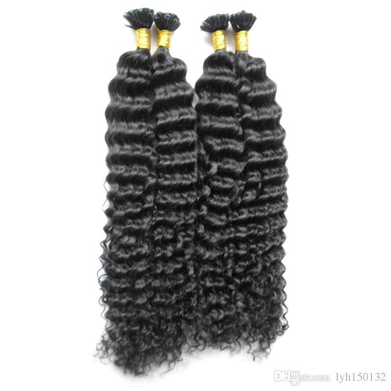 """Brasileiro encaracolado profunda Remy Real cabelo Humano 200G Pré-Ligado Queratina Virgem U-Tip Extensão Do Cabelo 10 """"-26"""" extensões de cabelo de ponta de queratina"""