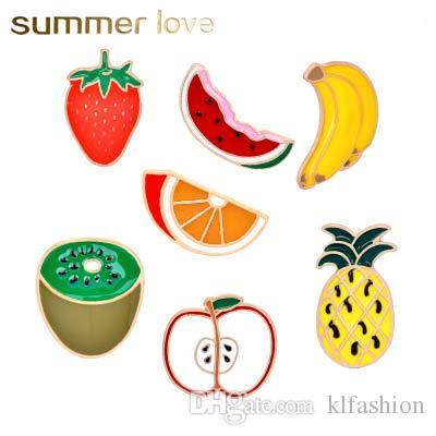 Hot sale watermelon strawberry apple creative design brooches for women kids kiwi gold color cartoon fruit fashion collar brooches pin