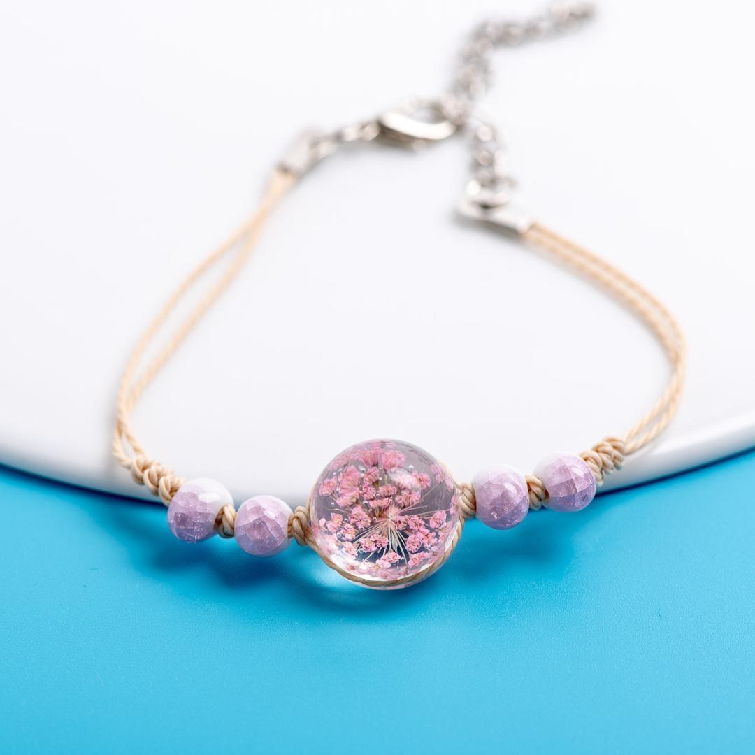 Cristallo Trasparenza Fiore Charms bracciali gioielli originale sfera di vetro braccialetto di collegamento Chain degli accessori dei monili # EZ418