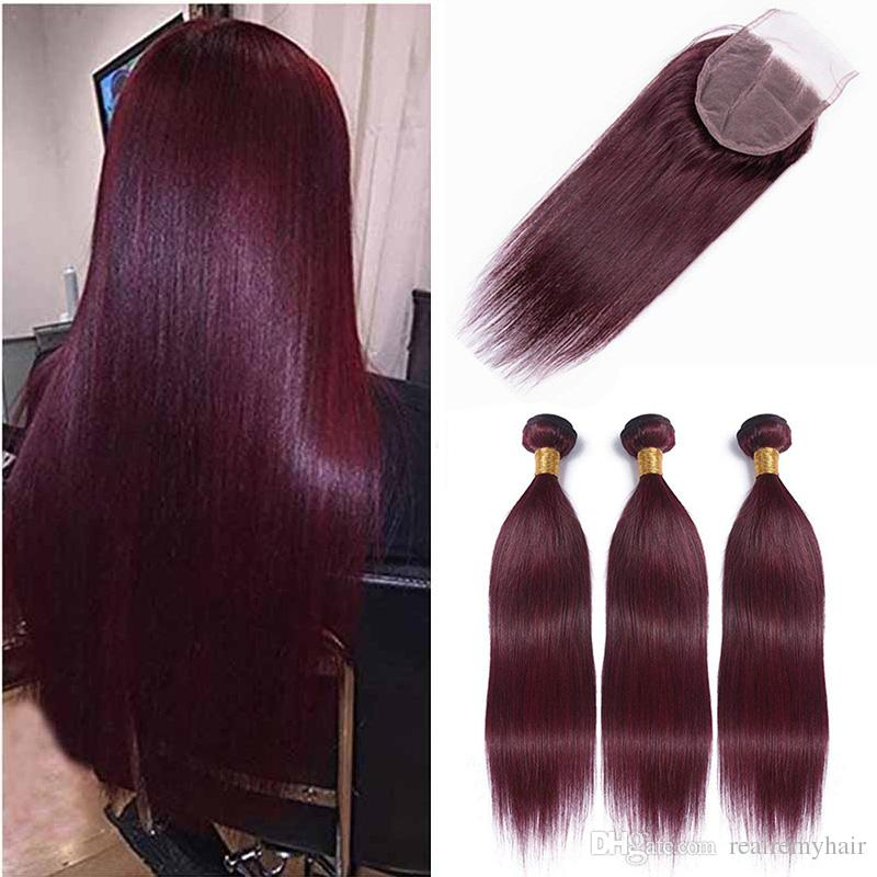 Hot Sale Peruvian 99j Straight Virgin Hair Weave With Closure Peruvian Burgundy Human Hair 3 Bundles With 4x4 Lace Closure