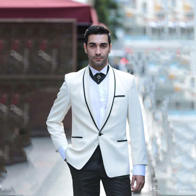 Custom Made Ivory Men Suits Groom Wedding Tuxedos Slim Fit Groomsmen Suit Shawl Lapel 2Piece Prom Wear Formal Suits (Jacket+Pants)