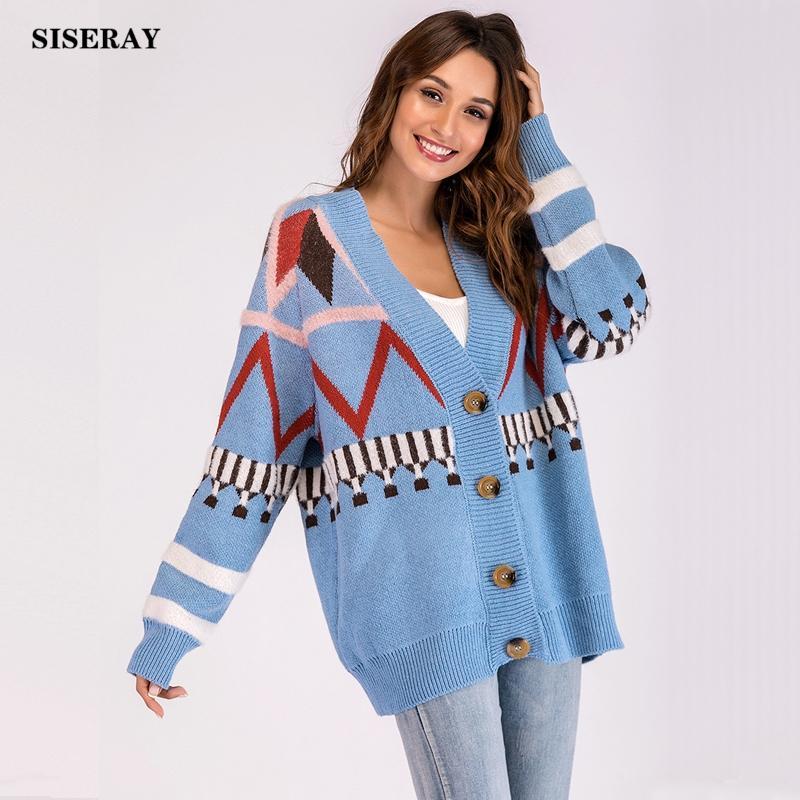 Yeni 2018 Rahat Geomertic Boy Kazak Hırka Ceket Kadın Dış Giyim Palto Tek Beasted Gevşek Örme Hırka Kadın Coat