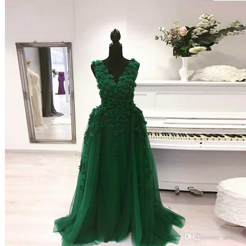 Seksi Uzun Zümrüt Yeşil Abiye Çıkarılabilir Ayrılabilir Gelinlik Modelleri Abendkleider Çiçekler Kadınlar Partisi Elbise Nişan Abiye
