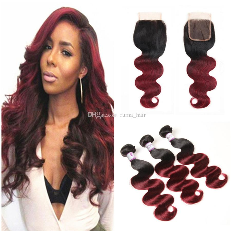 Dark Burgundy Brazilian Body Wave Hair With Closure 3 Bundles With Closure Two Tone 1B 99J Ombre Brazilian Virgin Hair Weave With Closure