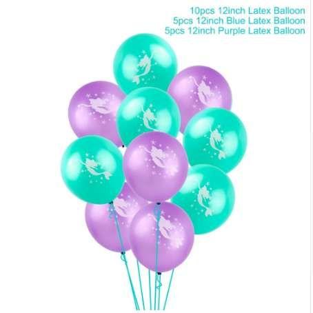 FENGRISE 10pc Mermaid Balloon Little Mermaid Birthday Party Decorations Ballon Mermaid Theme Foil Balloons Cute Baby Kids Favors