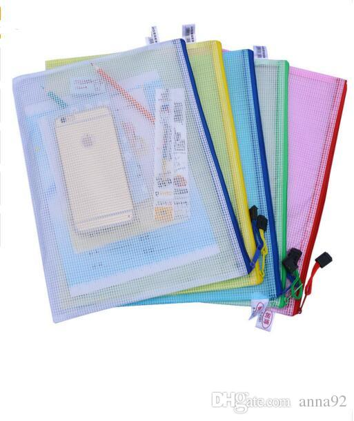 1 pcs Waterproof Plastic Zipper Paper File Folder Book Pencil Pen Case Bag File document bag for office student supplies free shipping 2018