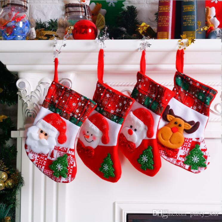 New Style Snowflake Christmas Socks Santa Claus Snowman Elk Bear Christmas Stockings Kids Candy Apple Gift Bags