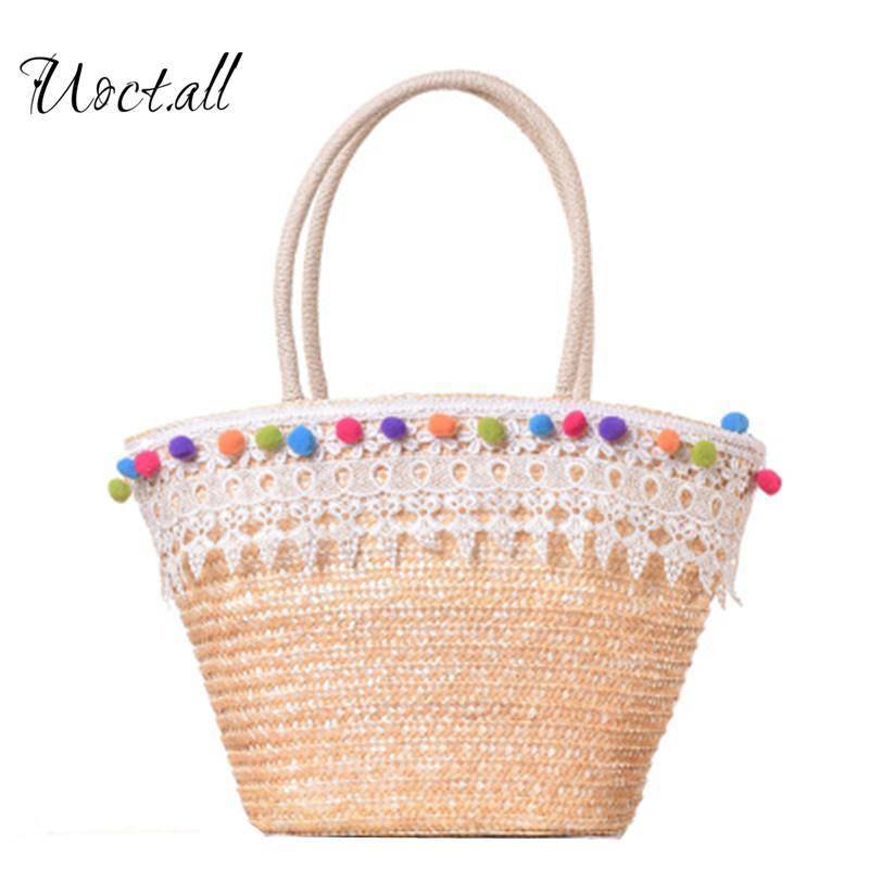 Uoct.all Colorful Tassel Beach Bag Boho Shopping Basket Lace Woven Handbags for Women Shoulder Bag Straw Summer Big Tote Bags