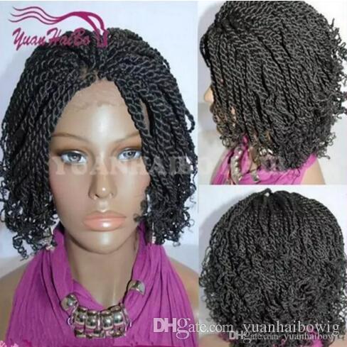 Top quality curto torção kinky perucas de cabelo sintético mão cheia amarrado senegalês torção peruca dianteira do laço cacheados dicas americanos africanos