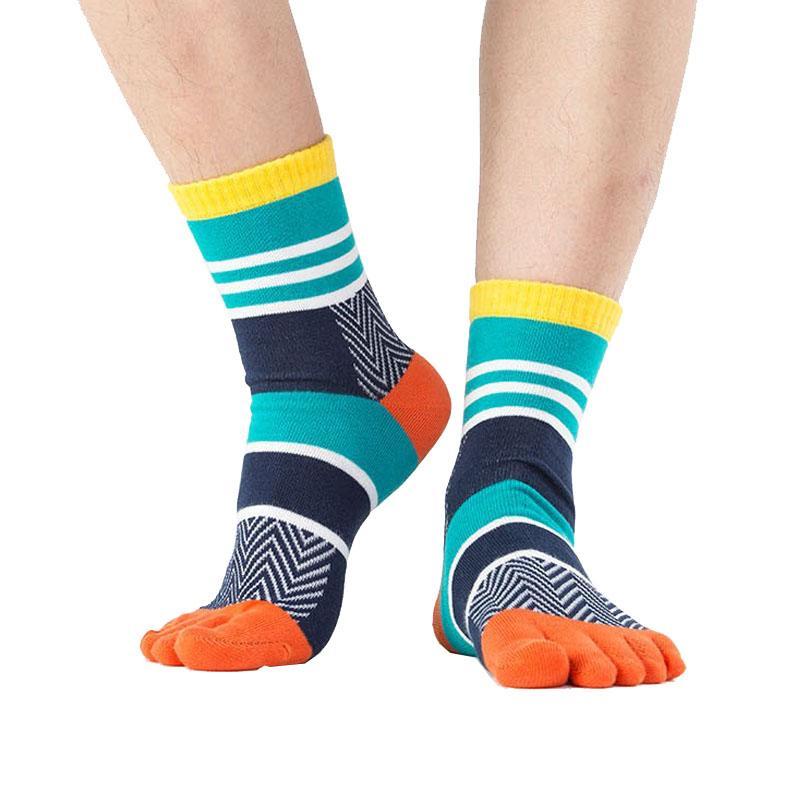 5 paires / lot Mens Coton Toe Chaussettes Rayées Contraste Coloré Patchwork Hommes Cinq Chaussettes Doigts Taille Libre Panier Calcetines meia
