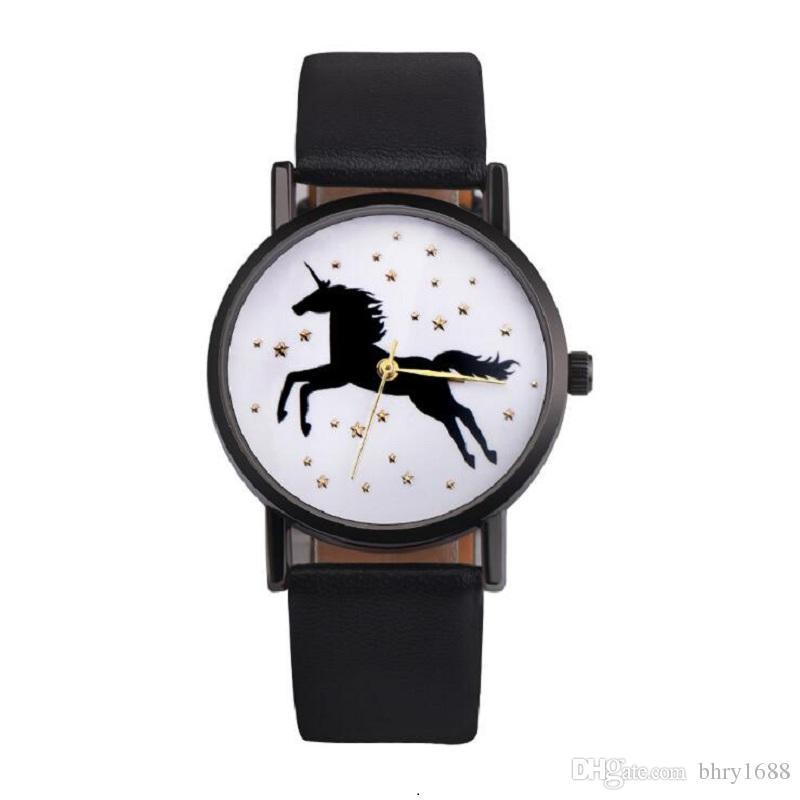 100pcs nero unicorno guarda la vigilanza di cuoio delle donne degli uomini Orologi da polso al quarzo semplici casuali Unisex studenti delle signore vestono l'orologio regalo