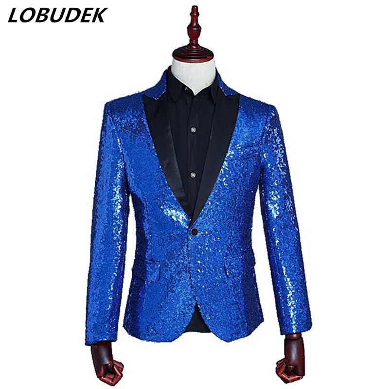 Mens One Button Fit Suit Blazer Sequin Formal Business Vintage Jacket Suits