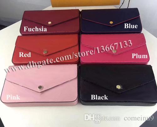 Free Shipping Women Genuine Leather Woc Clutch Handbag 64065 Brand Designer 3pcs Set Pochette Bag with Box 61276