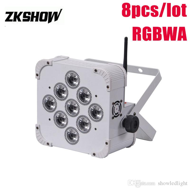 80% Off LED 9*18W RGBAWUV Wireless Battery Flat LED Par Light 180W DMX DJ Disco Party Wedding Show Stage Projector 230V 110V Free Shipping