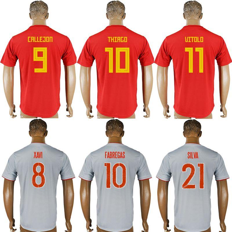 ab4625e5b89 2018 New Spain world cup jersey INIESTA RAMOS Asensio COSTA SILVA ISCO  MORATA football shirt 2018 soccer jersey men women kids