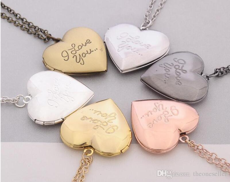 2018 I Love You Heart Locket Necklace Silver Gold Chain Secret Message Photo Box Heart Love Pendants for Women Fashion Jewelry 600pcs /lot