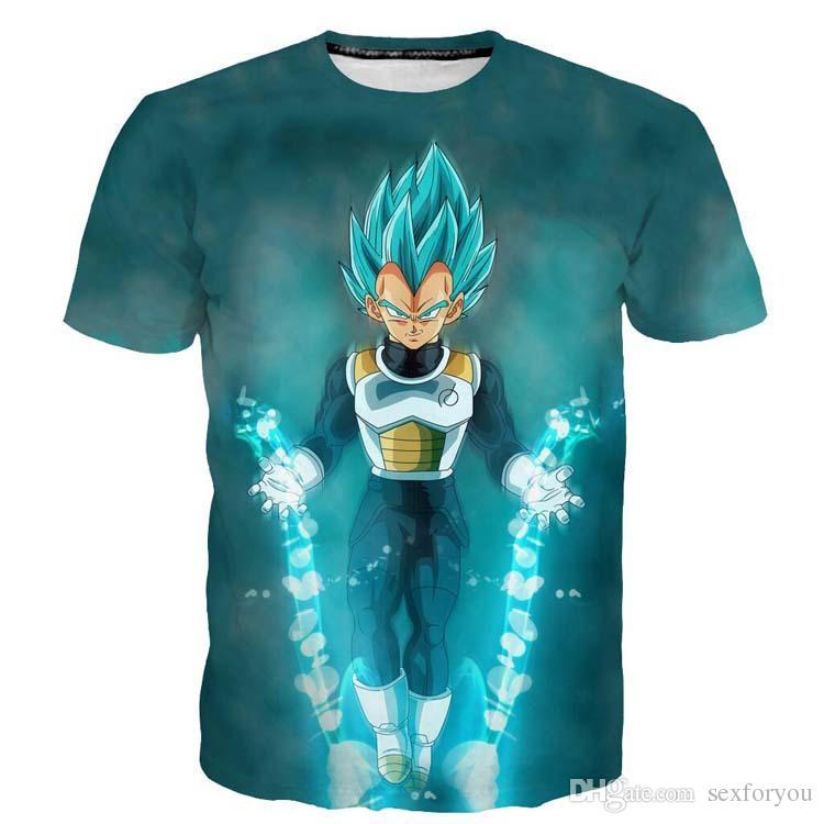 Vente chaude Dragon Ball Z Vegeta T-shirt Lumière Anime Super Saiyan Goku T-Shirt Hommes pour les adolescents Top Tee