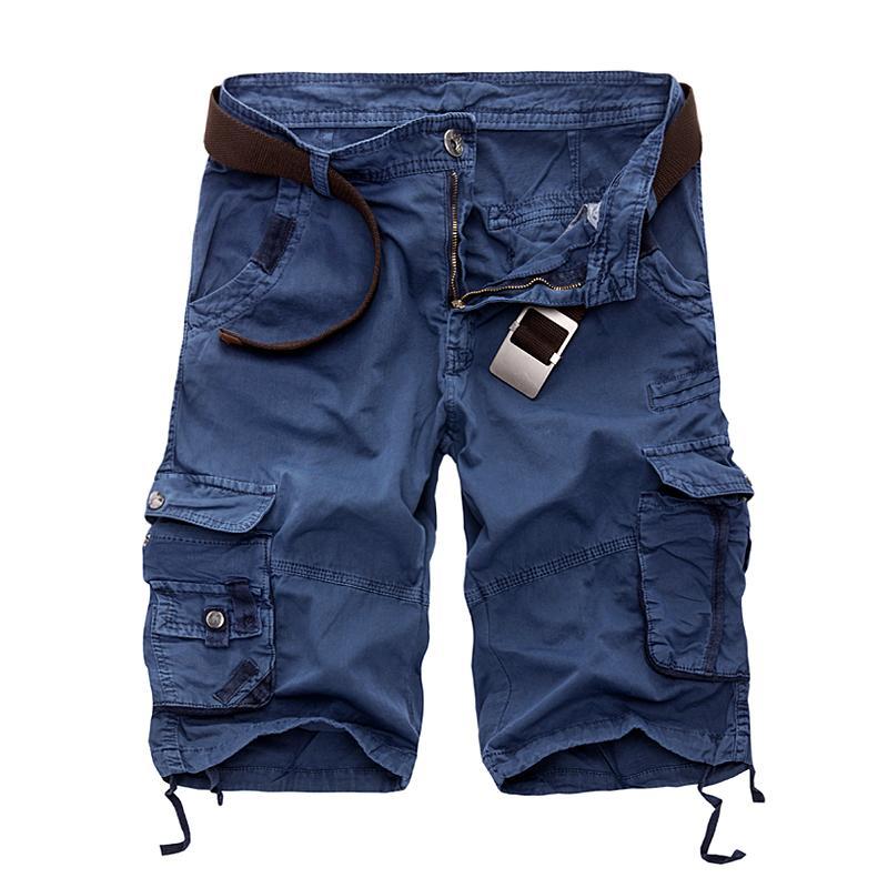 Novos Homens Da Moda Carga Shorts Casuais Soltas Calças Curtas Camuflagem Militar Estilo Verão Na Altura Do Joelho Plus Size 10 Cores Zipper Fly