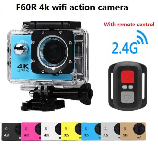 "4k cámara de acción wifi ir a prueba de agua pro deporte cámara F60 / F60R 2.4G 4K / 30fps 1080P 2.0 ""170D Helmet Cam cámara subacuática"