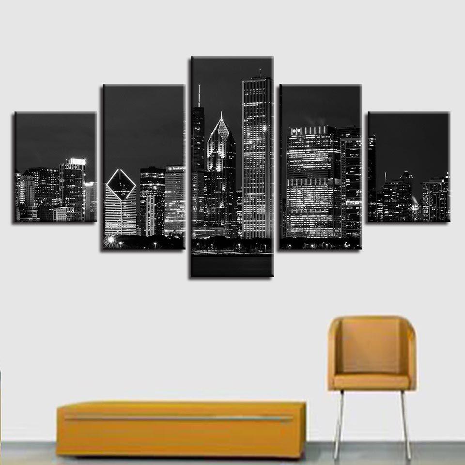 HD Druck Schwarz Und Weiß Leinwand Bild Modulare Poster 5 Stücke New York City Gebäude Nacht Szene Malerei Wohnzimmer Decor Wandkunst