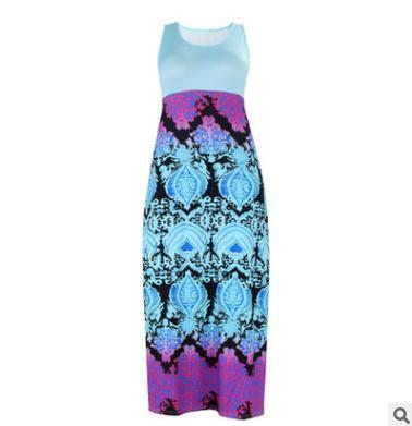 Summer fat women dress Hot-selling sexy U-neck sleeveless Fluorescent printed beach vest dress Large size ladies clothing