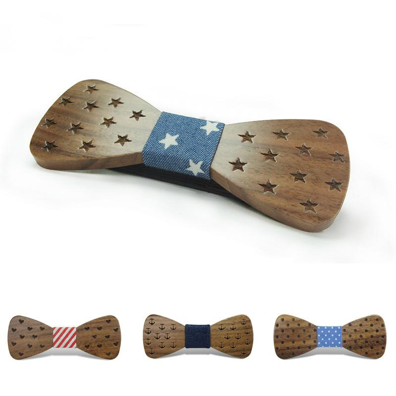 Classic Original Wood Elegant Gentleman Kids Bow Ties Handmade Butterfly Wedding Party Bow Ties Butterfly Wooden Unique Tie