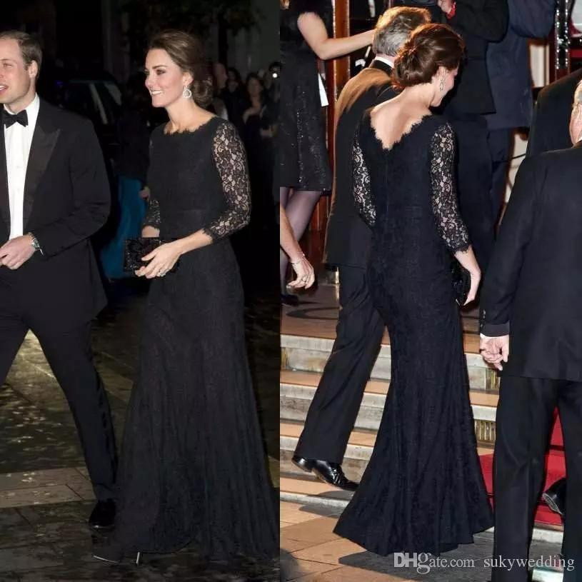Kate Middleton Celebrity Party Gowns Black Lace Evening Dresses With Long Sleeves Jewel Neck Formal Women Mermaid Party Prom Dress Custom
