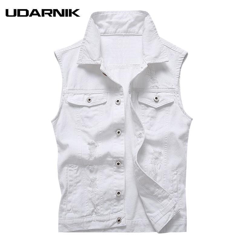 fbab1cb068d3a3 Men White Denim Vest Turn-down Collar Cotton Sleeveless Jacket Slim Casual  Gilet Waistcoat Top Summer Clothes Fashion 903-A663