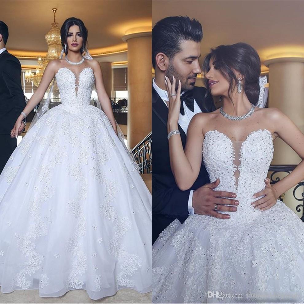 Großhandel Elegante Arabische Spitze Brautkleider Mit Applikationen  Pailletten Prinzessin Ballkleid Brautkleid Lange Schleppe Brautkleider Plus  Größe